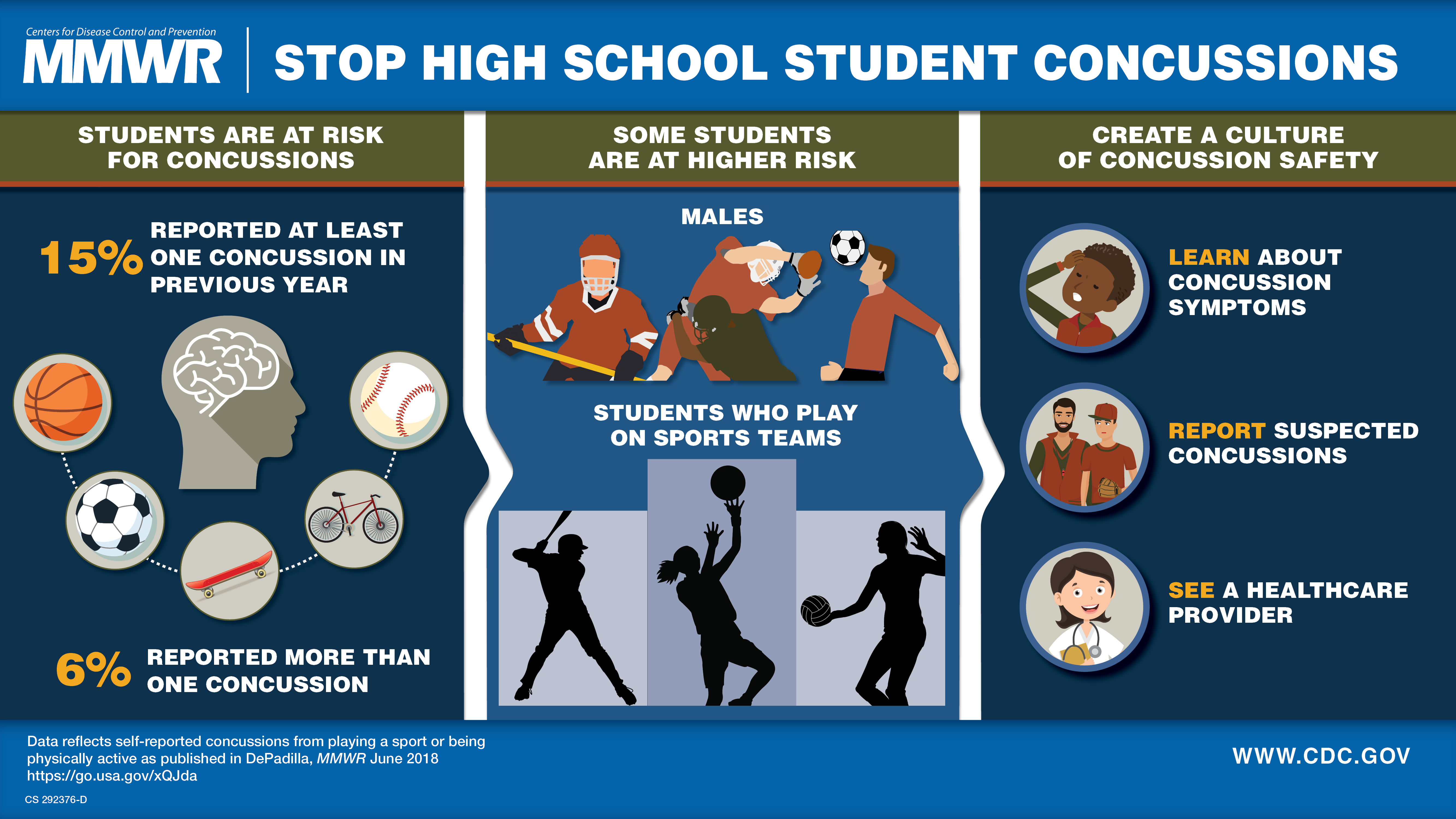 The figure above is a visual abstract displaying the findings of the report which suggest that students who play on team sports are at a higher risk for concussion than students who do not play on a sports team.