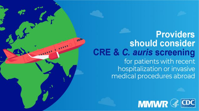 The figure urges providers to consider screening patients who were recently hospitalized abroad for CRE & C. auris.