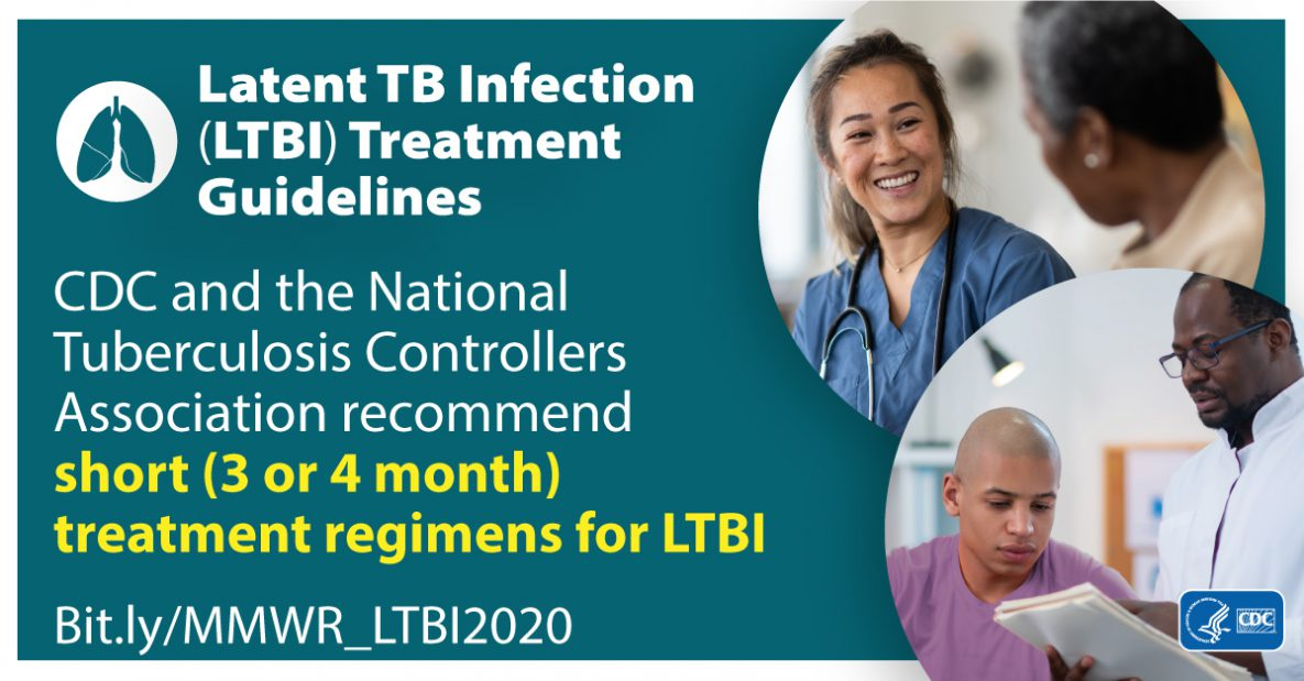 The figure shows an infographic about Latent TB Infection (LTBI) Guidelines and recommended treatment regimens for LTBI.