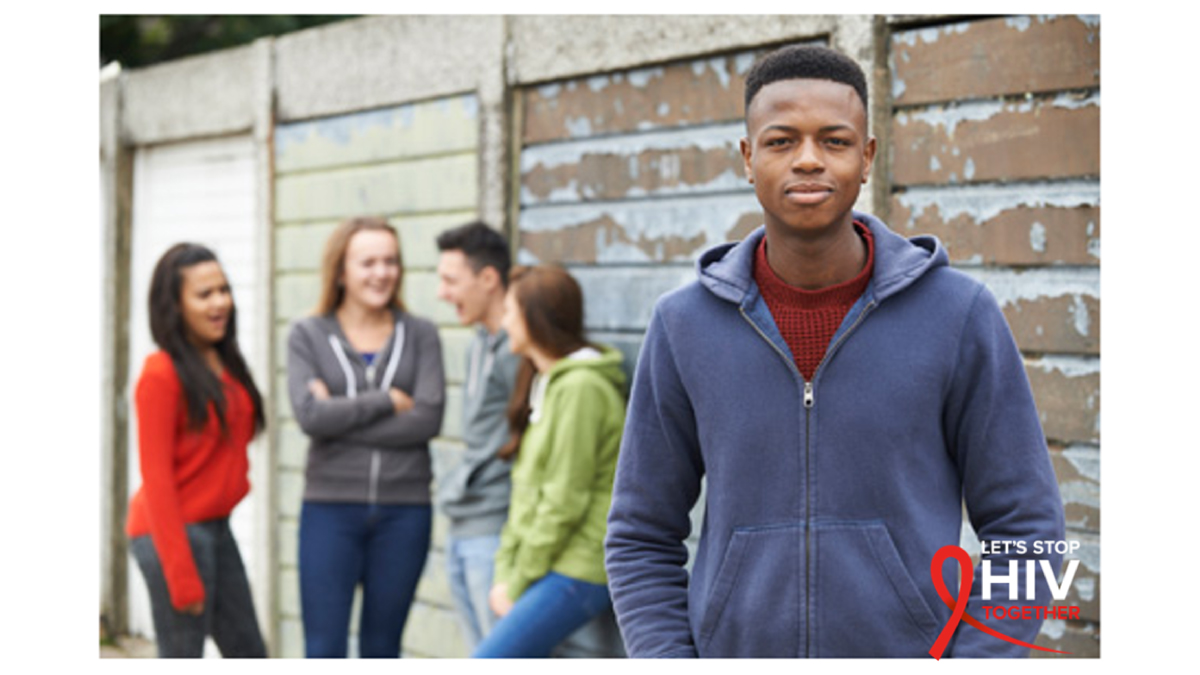 The figure is a photo of a group of adolescents overlaid with the text let's stop HIV together.