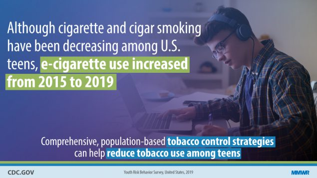 The figure is a photo of a student studying with text describing that e-cigarette use increased from 2015-2019.