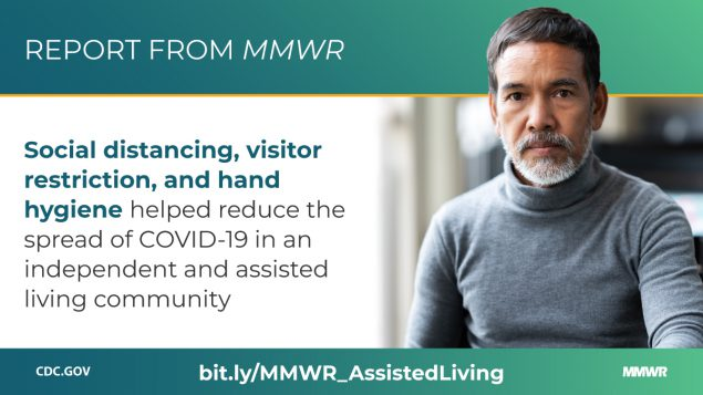 The figure is a photo of an older person with text about a new report from MMWR describing measures that helped reduce the spread of coronavirus disease 2019 (COVID-19) in an independent and assisted living community.
