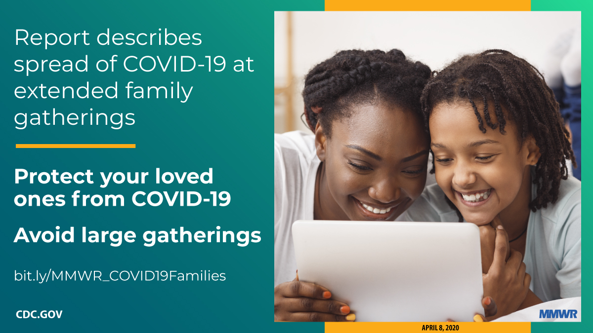 The figure is a photo of a parent and child chatting with someone via webcam with text about a new MMWR report that describes the spread of COVID-19 at extended family gatherings.