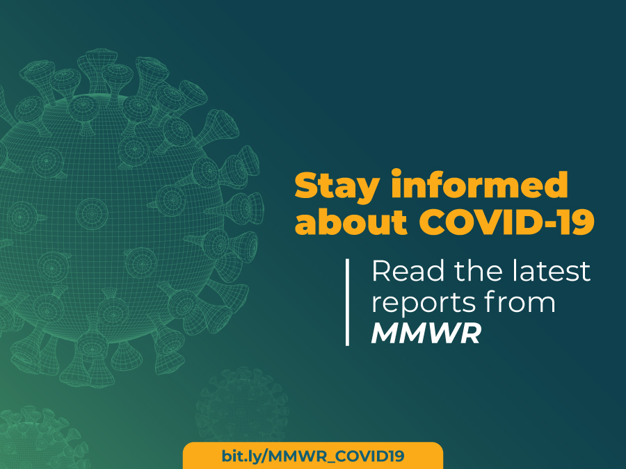 The figure shows a three-dimensional image of the virus that causes COVID-19 with text overlay about staying informed about COVID-19.