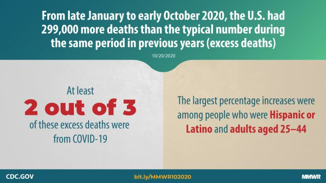 The figure describes excess deaths in the United States from late January to early October 2020.