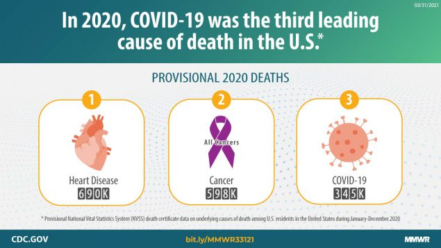This graphic describes provisional U.S. 2020 deaths and leading causes of death.