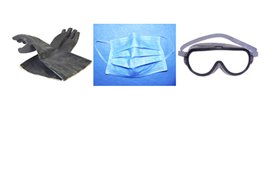 three items needed for cleanup - gloves, mask and goggles
