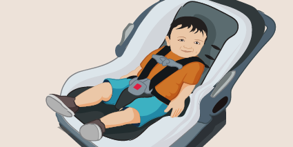 illustration of a boy in a car seat