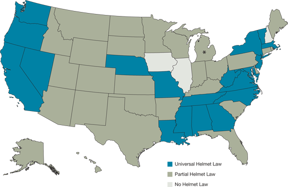 U.S. map representing the helmet laws for each displayed that are listed in the table below.