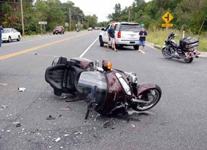 Photo: a crashed motorcycle
