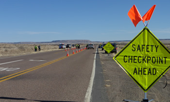 Photo: Road checkpoint sign