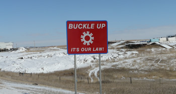 Photo: road sign: Buckle up - it's our law