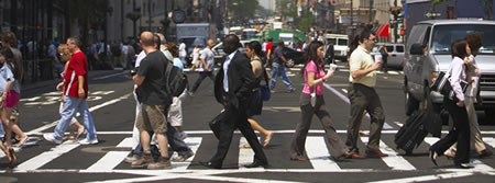 Photo: Pedestrians in a cross walk