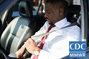 Photo: Professional African American man buckling his seat belt. CDC MMWR logo