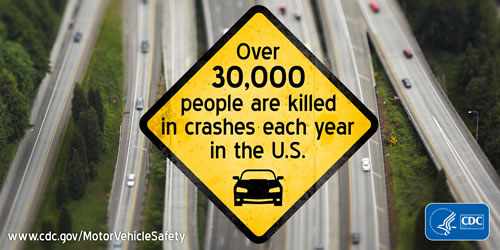Over 30,000 people are killed in crashes each year in the U.S.