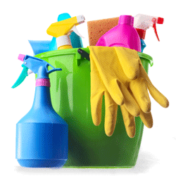 bottles of cleaners, detergents and other cleaning supplies