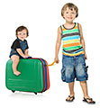 Boys traveling with suitcase