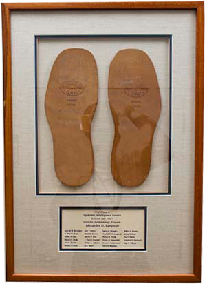 "The two simple leather soles exemplify the phrase ""shoe-leather epidemiology,"" a term Alex Langmuir used frequently."