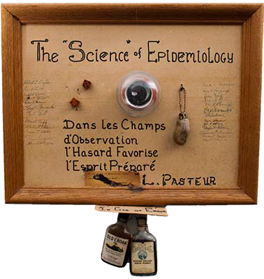 The symbolism on the plaque is quite straight forward: the irony of the Science of Epidemiology is the subject.