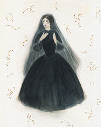 Costume design for one of The Twelve Mourning Mothers on a ground of Streptococcus Pyogenes, the bacteria responsible for most cases of Childbed Fever.