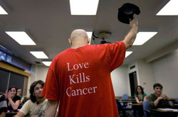 Photo: Love Kills Cancer - Kaplan tips his cap to his students after explaining he had been diagnosed with cancer from Not As I Pictured