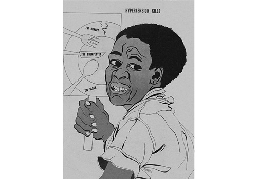 "Artwork by Emory Douglas - Illustration, ""Hypertension Kills"", showing black man holding poster that says, ""I'm hungry, I'm unemployed, I'm black,"" from The Black Panther newspaper, July, 1975 - These are some of the social factors that can contribute to hypertension. The prevalence of high blood pressure is more common among blacks compared with whites and Mexican Americans."