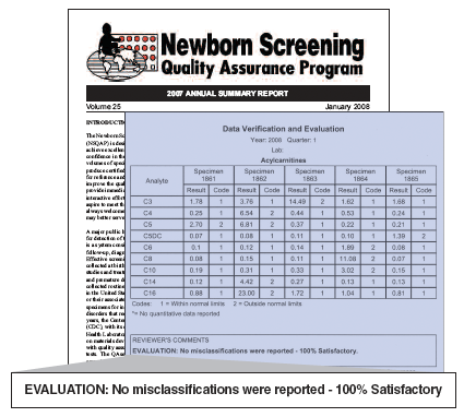 Image of Newborn Screening Quality Assurance Program documents and reports used in the program.