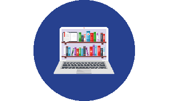 Laptop icon with books on the screen
