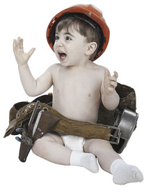 Toddler in a hard hat and tool belt