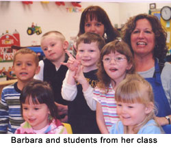 Barbara and students from her class