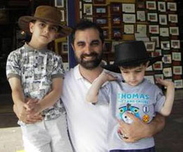 Gregory Abowd (center) with his sons Aidan (left) and Blaise (right).