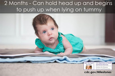 Can hold head up and begins to push up when lying on tummy