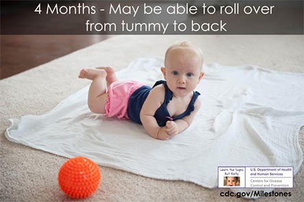 May be able to roll over from tummy to back