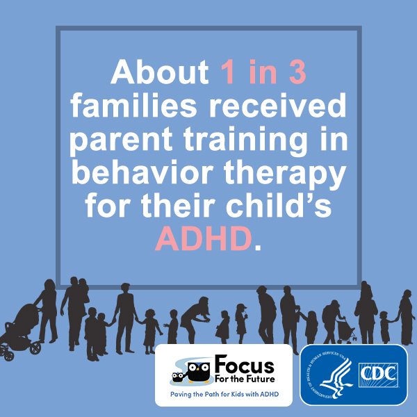 About 1 in 3 families received parent training in behavior therapy for their child's ADHD.
