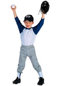 Boy in baseball uniform