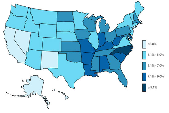 U.S. Map, ADHD, Overall Medicated, 2007