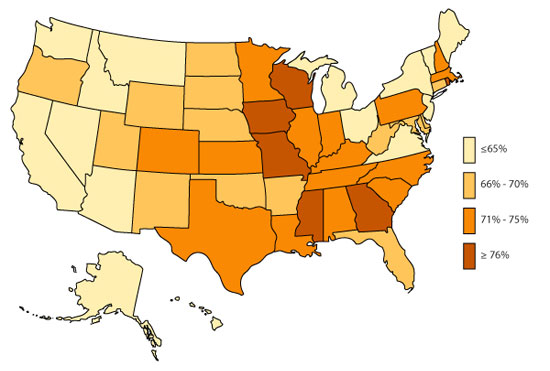 U.S. Map, ADHD, Diagnosed and Medicated, 2007