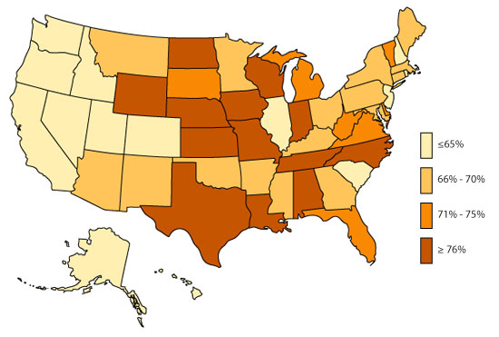 U.S. Map, ADHD, Diagnosed and Medicated, 2011