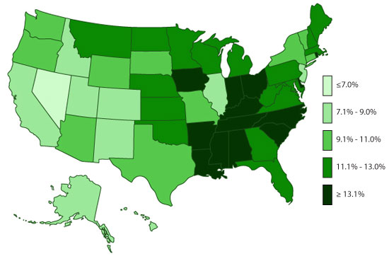 U.S. Map, ADHD, Ever Diagnosed, 2011