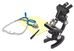 Microscope, stethescope, and notepad