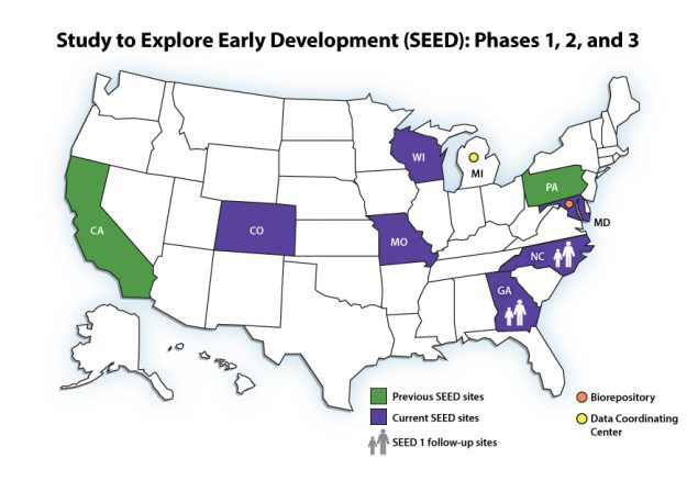 Map of Study to Explore Early Development (SEED) funded sites, 2016-2021 (Colorado, Georgia, Maryland, Missouri, North Carolina, and Wisconsin)