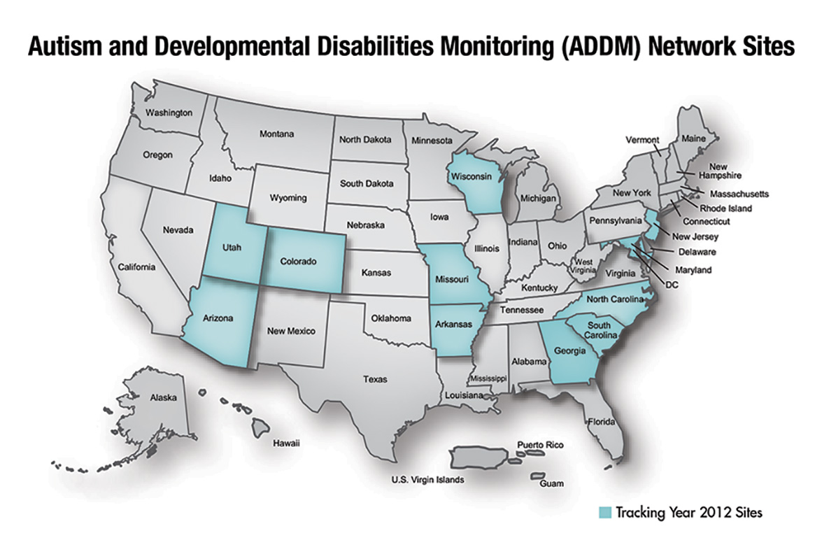 ADDM Network Sites 2012 - Arizona, Arkansas, Colorado, Georgia, Maryland, Missouri, New Jersey, North Carolina, South Carolina, Utah, Wisconsin