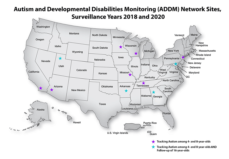 Map of Autism and Developmental Disabilities Monitoring (ADDM) Network Sites, Surveillance Years 2018 and 2020. Arizona, California, Maryland, Minnesota, Missouri, New Jersey, Tennessee and Wisconsin track Autism among 4- and 8-year olds. Arkansas, Georgia and Utah track Autism among 4- and 8-year olds and follow-up on 16-year olds.
