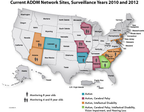 Current ADDM Network Sites Map, Surveillance Years 2010 and 2012