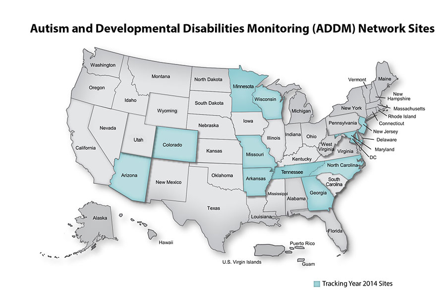 Map showing Autism and Developmental Disabilities Monitoring (ADDM) Network Tracking Year 2014 sites: Arizona, Arkansas, Colorado, Georgia, Maryland, Minnesota, Missouri, New Jersey, North Carolina, Tennessee, Wisconsin