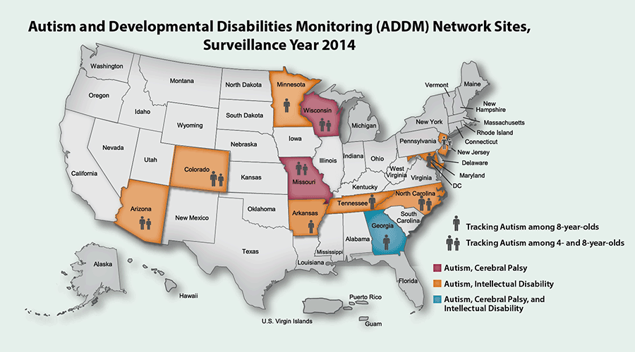 Map showing ADDM Network Tracking Years 2014 sites: Arizona (Autism, Intellectual Disability; Monitoring 4 and 8 year olds), Arkansas (Autism, Intellectual Disability; Monitoring 8 year olds), Colorado (Autism, Intellectual Disability; Monitoring 4 and 8 year olds), Georgia (Autism, Cerebral Palsy, Intellectual Disability; Monitoring 8 year olds), Maryland (Autism, Intellectual Disability; Monitoring 8 year olds), Minnesota (Autism, Intellectual Disability; Monitoring 8 year olds), Missouri (Autism, Cerebral Palsy; Monitoring 4 and 8 year olds), New Jersey (Autism, Intellectual Disability; Monitoring 4 and 8 year olds), North Carolina (Autism, Intellectual Disability; Monitoring 4 and 8 year olds), Tennessee (Autism, Intellectual Disability; Monitoring 8 year olds), Wisconsin (Autism, Cerebral Palsy; Monitoring 8 year olds).