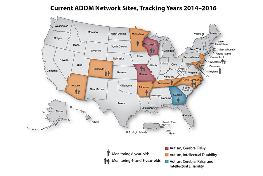 Map showing Current ADDM Network Tracking Years 2014-2016 sites: Arizona (Autism, Intellectual Disability; Monitoring 4 and 8 year olds), Arkansas (Autism, Intellectual Disability; Monitoring 8 year olds), Colorado (Autism, Intellectual Disability; Monitoring 4 and 8 year olds), Georgia (Autism, Cerebral Palsy, Intellectual Disability; Monitoring 8 year olds), Maryland (Autism, Intellectual Disability; Monitoring 8 year olds), Minnesota (Autism, Intellectual Disability; Monitoring 8 year olds), Missouri (Autism, Cerebral Palsy; Monitoring 4 and 8 year olds), New Jersey (Autism, Intellectual Disability; Monitoring 4 and 8 year olds), North Carolina (Autism, Intellectual Disability; Monitoring 4 and 8 year olds), Tennessee (Autism, Intellectual Disability; Monitoring 8 year olds), Wisconsin (Autism, Cerebral Palsy; Monitoring 8 year olds).