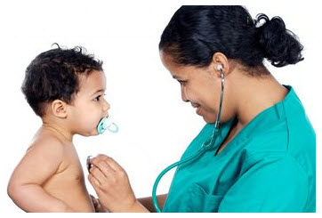 Photo: Doctor examining a child