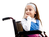 Girl sitting in wheel chair
