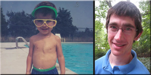 Nick at a swimming pool and Nick older